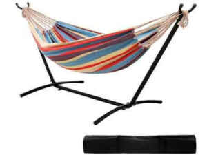 Ohuhu 10 FT Double Hammock with Stand, Cotton Fabric Camping Hammock with Space Saving Steel Stand and Portable Carrying Case, Holds Up to 450lbs Use for Indoor-Outdoor Ideal Gift Present Choice