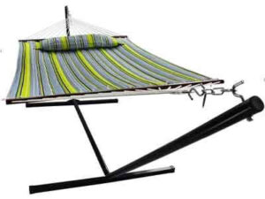 Sorbus Hammock with Stand & Spreader Bars and Detachable Pillow, Heavy Duty, 450 Pound Capacity, Accommodates 2 People, Perfect for Indoor Outdoor Patio, Deck, Yard (Hammock with Stand, Green Blue